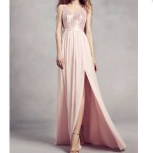 WHITE by Vera Wang blush pink sequin long gown 6